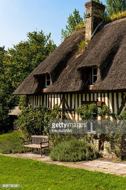 France, Normandy, thatched cottage in traditionnal normandic style with a nice garden