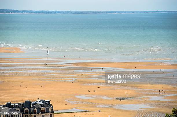 France, Normandy, the beach of Houlgate seen from a high point of view at low tide