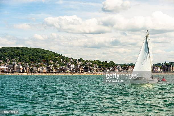 France, Normandy, the city of Houlgate seen from the sea