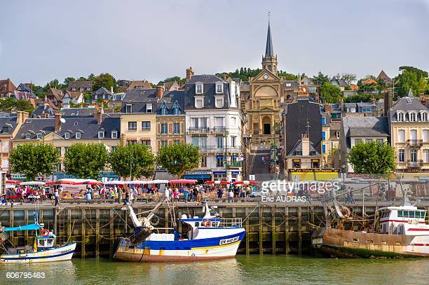 france, normandy, the city of trouville seen from the river - trouville sur mer stock pictures, royalty-free photos & images