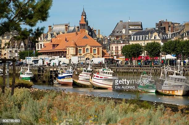 france, normandy, the city of trouville sur mer, banks and boats at low tide - trouville sur mer stock pictures, royalty-free photos & images