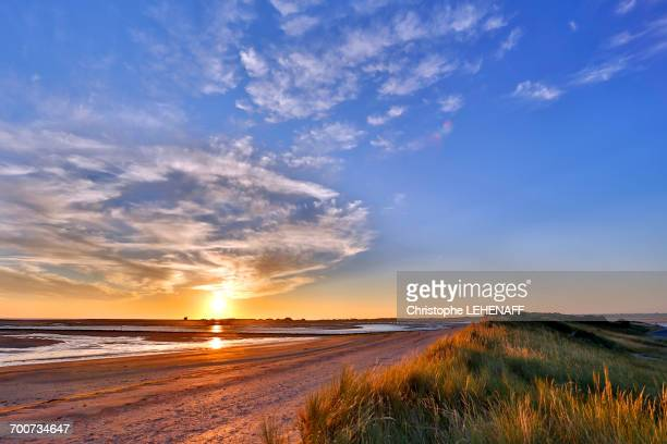 france, normandy. view of the regneville-sur-mer bay and agon-coutainville at sunset. high tides period - cotentin photos et images de collection