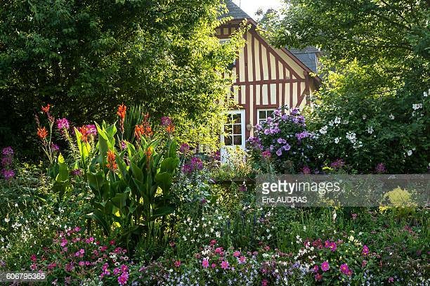 france, normandy, well preserved old traditionnal houses in normandic style in the village of beuvron en auge - haute normandie stockfoto's en -beelden