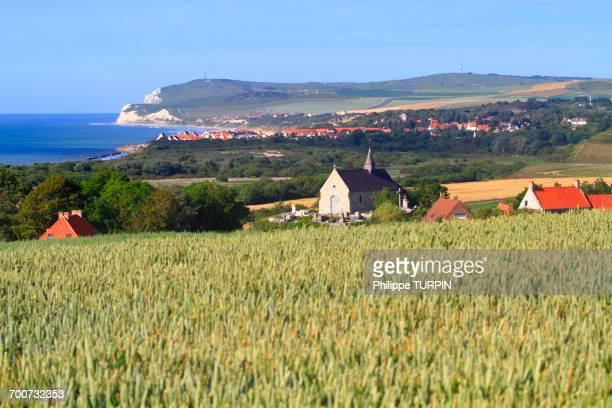 France, North Coast. Tardinghen. Wiwwant and Wisssant Bay. Foreground: Tardighens church. Background: Cap Blanc Nez