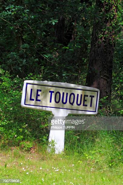 France, Northern France, Le Touquet. Old sign at the city entrance