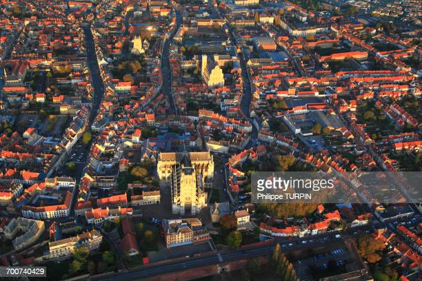 france, northern france, pas de calais, aerial view of saint-omer city center. - hauts de france stock photos and pictures