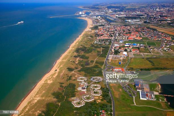 France, Northern France, Pas de Calais. Calais. Bleriot-Plage in the foreground.