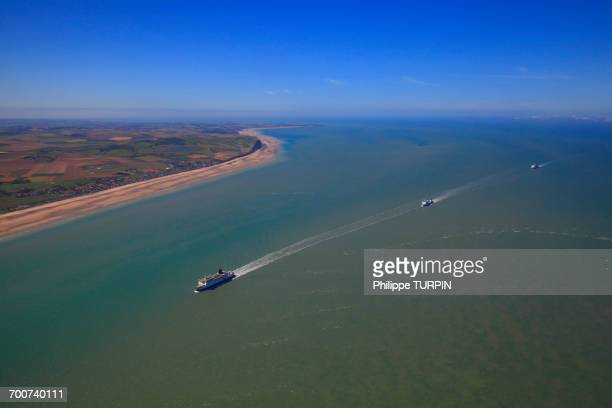 france, northern france, pas de calais. three ferries in the channel connecting calais to dover. - ferry stock photos and pictures