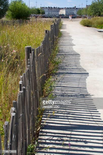 France, North-Western France, Nantes, Ile de Nantes, Parc des Chantiers, wooden barrier