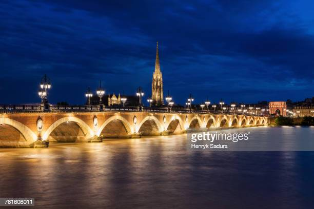 france, nouvelle-aquitaine, bordeaux, illuminated pierre bridge - aquitaine stock photos and pictures