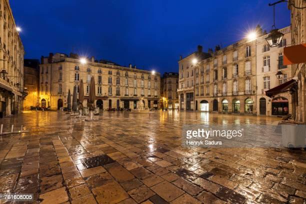 France, Nouvelle-Aquitaine, Bordeaux, Wet Parliament Square at night