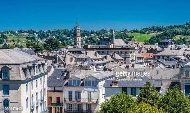france, occitanie region, hautes-pyrenees, spa town of bagneres-de-bigorre, overall view - bagneres de bigorre stock pictures, royalty-free photos & images