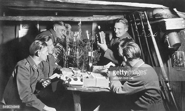2WW france occuoied christmas celebration in the shelter of a german air force unit at the channel coast about