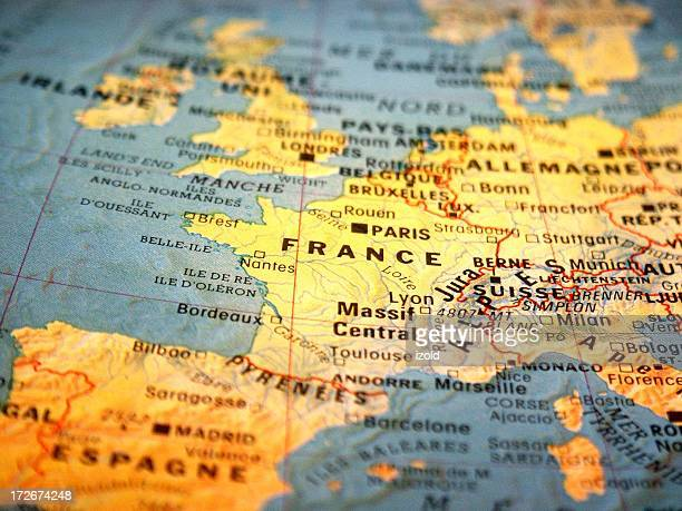 france on a map - france stock pictures, royalty-free photos & images