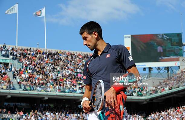 1149546 France Paris Novak Djokovic of Serbia plays in the French Open men's singles semifinal against Roger Federer of Switzerlandby photo...