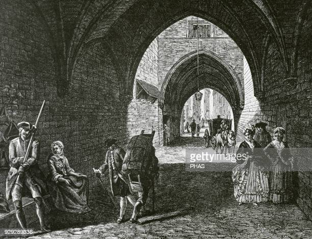 France Paris 18th century Vaulted passage under the 'Petit Chatelet' between the rue Saint Jacques and the 'PetitPont' in 1770 Engraving by Mealle