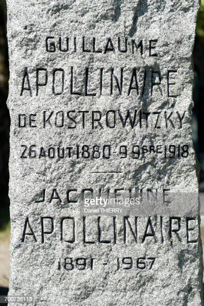 France, Paris 20th district. Pere Lachaise cemetery. The poet Guillaume Apollinaires menhir grave (1880-1918) imagined by Pablo Picasso in 1924