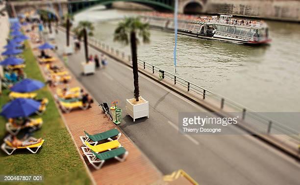 France, Paris, 4th Arrondissement, Paris Plage, elevated view