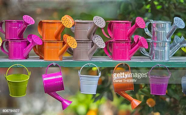 france, paris, 4th district, island of the cite, place louis lepine, the flower market renamed on june 7th, 2014 flower market queen elisabeth ii watering cans - louis lepine photos et images de collection