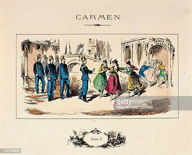 France Paris A scene from the opera Carmen by Georges Bizet print 1875