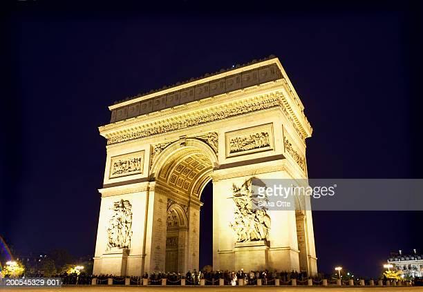 France, Paris, Arc de Triomphe, low angle view
