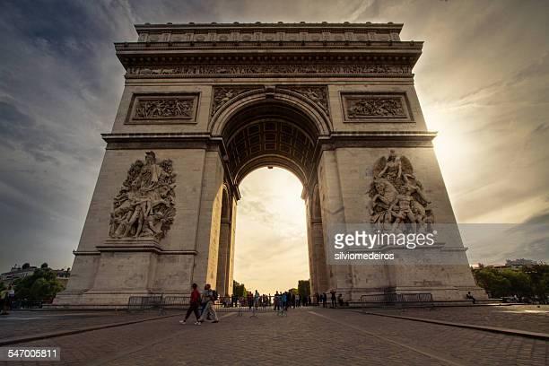 france, paris, arc de triomphe - triumphal arch stock photos and pictures