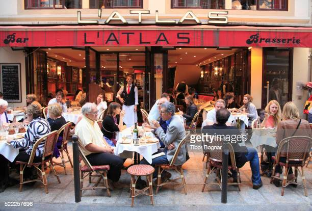 france, paris, bar, brasserie, restaurant, people, - brasserie stock pictures, royalty-free photos & images