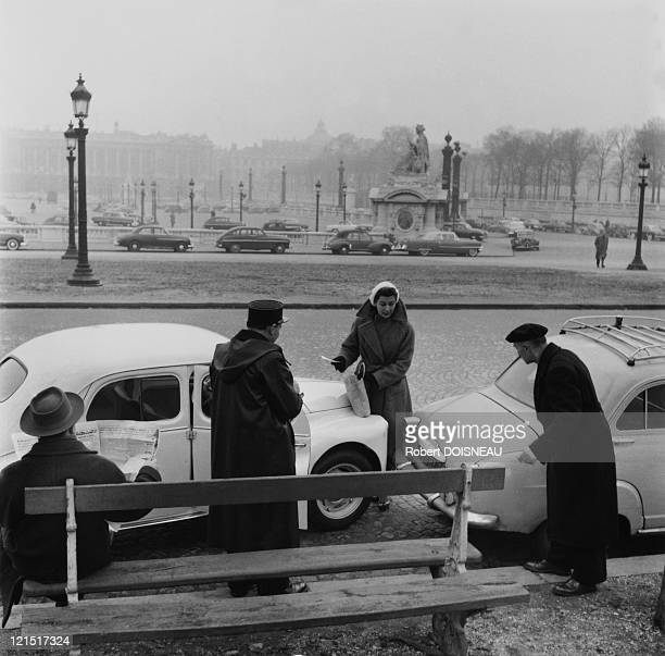 France, Paris, Cars Cycles And Motorbikes, Concord Place, Simone Bicheron With Police To Report An Accident In December 1955