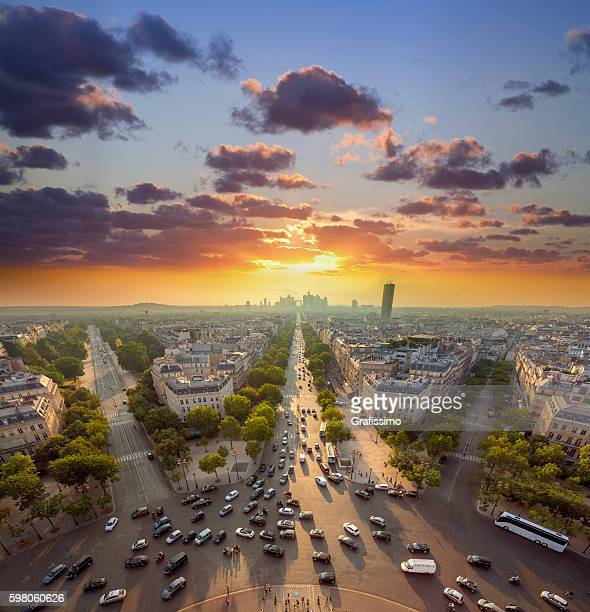 France Paris Champs Elysees with traffic at sunset