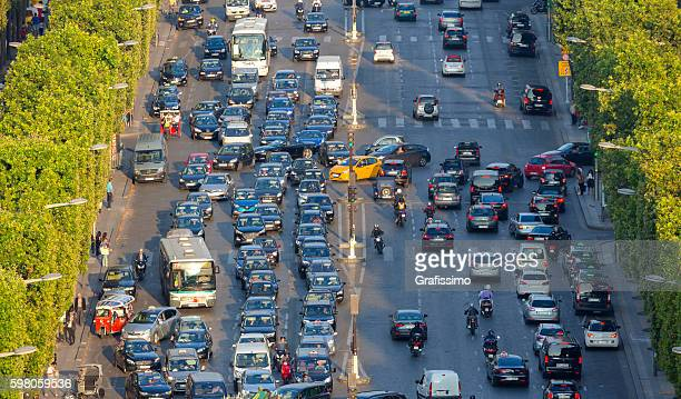 France Paris Champs Elysees with traffic jam
