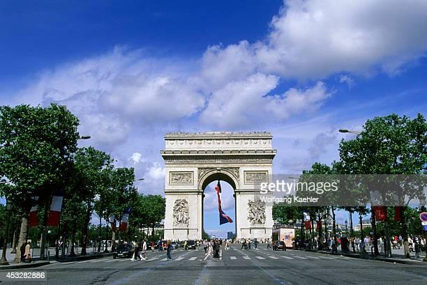 France Paris Champselysees Arc De Triomphe