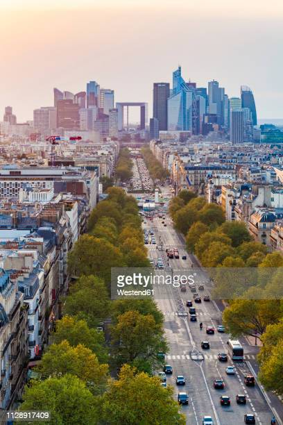 france, paris, cityscape with avenue de la grande armee and la defense - champs elysees quarter stock pictures, royalty-free photos & images