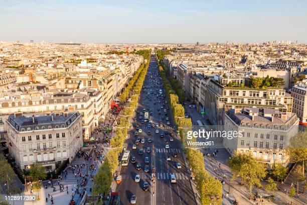 france, paris, cityscape with avenue des champs-elysees - champs elysees quarter stock pictures, royalty-free photos & images