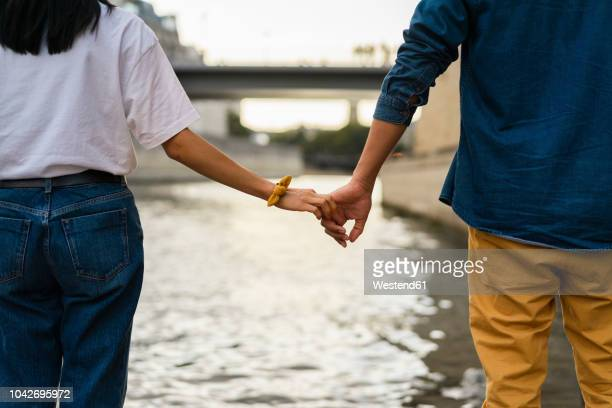 france, paris, couple holding hands at river seine - weekend activiteiten stockfoto's en -beelden