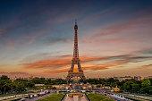 France, Paris, Eiffel Tower against moody sky