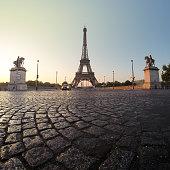 France, Paris, Eiffel Tower at dawn