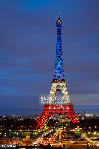 France, Paris, Eiffel tower in French colors