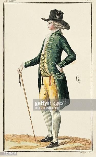 France Paris Fashionable clothes print by Desrais and Duhamel 1786