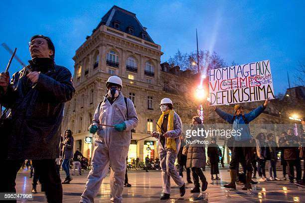 Gathering anti nuclear in republic square fot the 5th anniversary of the tragic nuclear fukushima's disaster