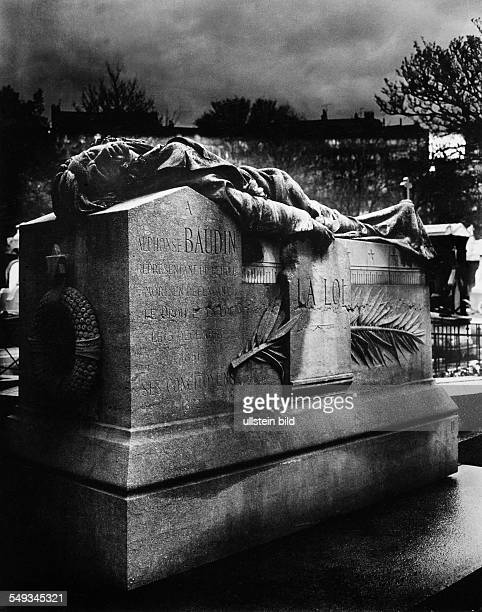 France Paris gravestone with figure of young killed man Alphonse Baudin on cemetery Montmartre