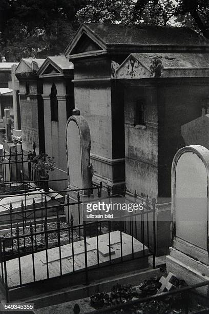 France Paris gravestones and tombs on cemetery Montmartre