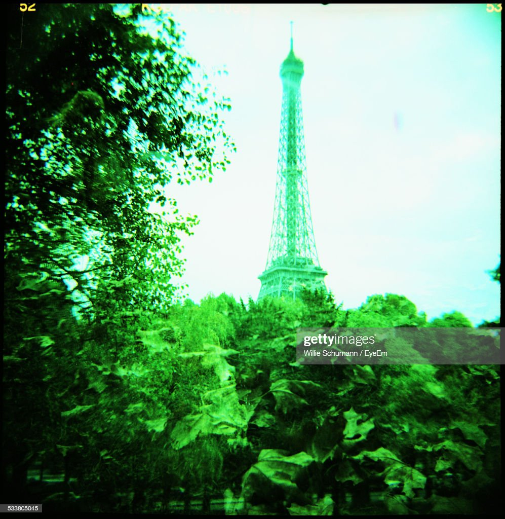France, Paris, Green Trees And Eiffel Tower : Foto stock