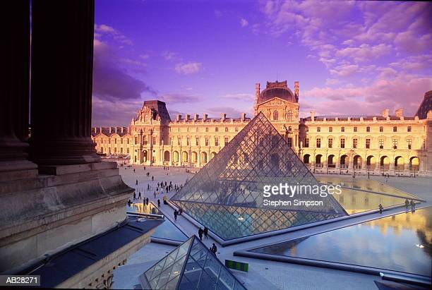 France, Paris, Louvre courtyard, elevated view