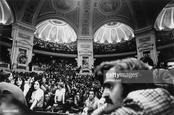 France Paris May 1968 Daniel CohnBendit speaking in the overcrowded assemblyhall in the Sorbonne studentrevolution protesting against establishment
