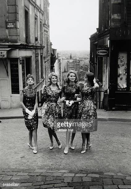 France Paris models posing in Montmartre for fashion schot
