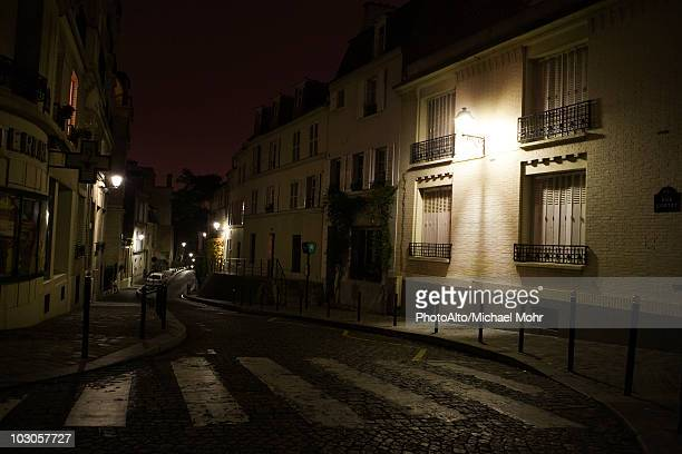 France, Paris, Montmartre, Rue Cortot at night