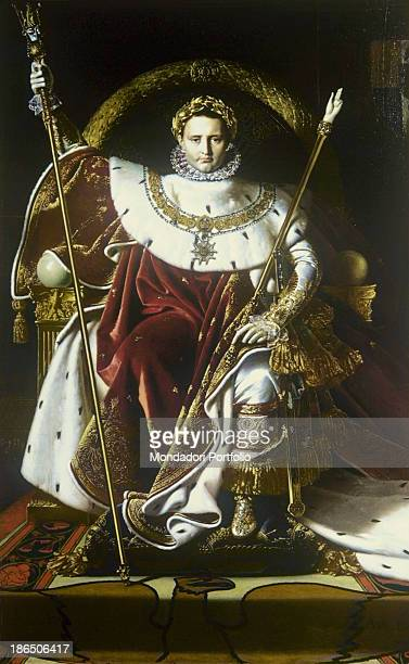 France Paris Musée de l'Armée Whole artwork view Napoleon seated on the imperial throne in a front position with his right arm raised to hold the...