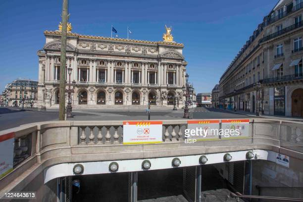France, Paris, Opera Garnier during covid-19 with partial access to metro lines.
