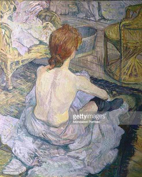 France Paris Orsay Museum Whole artwork view Portrait of the shoulders of halfnaked girl with a red hair who is preparing for a bathroom The girl...