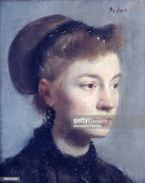 France Paris Orsay Museum Whole artwork view Portrait of young woman in the foreground turned threequarters with brown hair headband in her hair and...